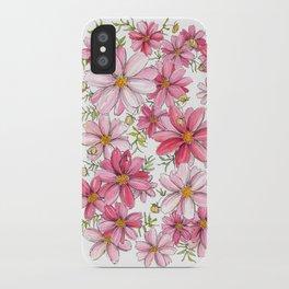 Pink Spring Flower Pattern iPhone Case