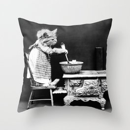 Kitten Cooking On The Stove - Harry Whittier Frees - 1914 Throw Pillow
