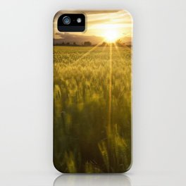 Sunset over a wheat field iPhone Case