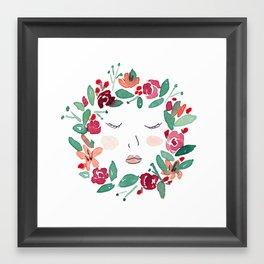 Face in Wreath Framed Art Print