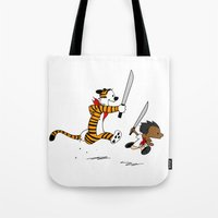 calvin and hobbes Tote Bags featuring Bonifacio and Hobbes by Cesar Cueva