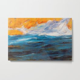 Ocean Sunset in Autumn landscape painting by Emil Nolde Metal Print
