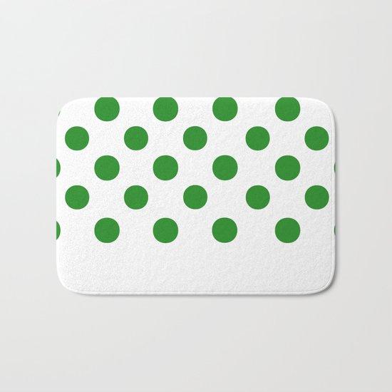 Polka Dots (Forest Green/White) Bath Mat