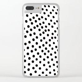 Warped Black Polka Dot Rain Clear iPhone Case