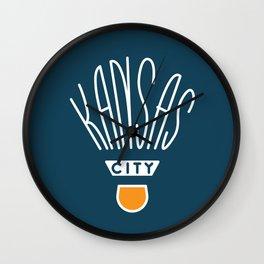 Kansas City Shuttlecock Type - White Wall Clock