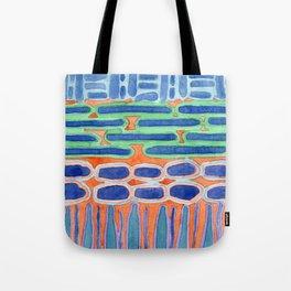 Blue Shapes Pattern Tote Bag