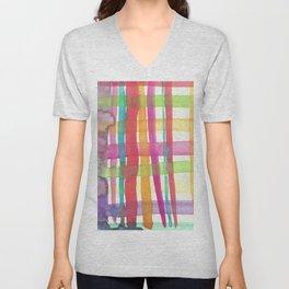 Rainbow Mesh Watercolor Unisex V-Neck