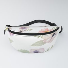Floral I - White Fanny Pack