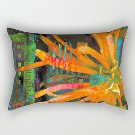 Electric Floral Burst in Tangerine Rectangular Pillow
