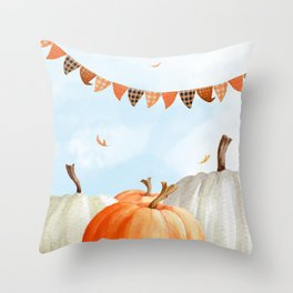Breezy Day At The Pumpkin Patch Throw Pillow