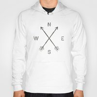 compass Hoodies featuring Compass (Natural) by Zach Terrell