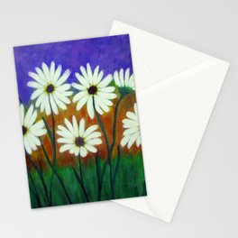 White daisies-Abstract Stationery Cards