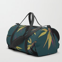 Fall print in forest green and mustard (also available in navy and blue) Duffle Bag