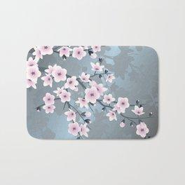 Dusky Pink Grayish Blue Cherry Blossom Bath Mat