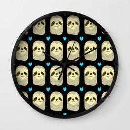 Blue Heart Sloth Wall Clock