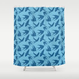 Swallows in Flight, Cobalt and Pale Blue Shower Curtain
