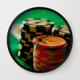 Casino Chips Stacks-Color Wall Clock