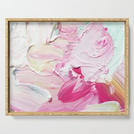 Minty Rose (Abstract Painting) Serving Tray