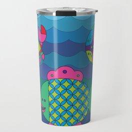 Stylize fantasy fishes under water. Travel Mug