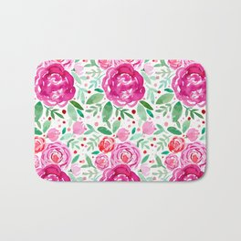 Watercolor roses bouquet - pink and green Bath Mat