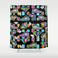 sneakers Shower Curtains featuring Diamonds and Sneakers by Gabriel J Galvan