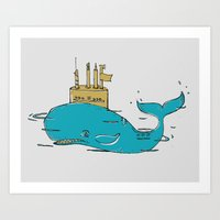 submarine Art Prints featuring SUBMARINE by yamini