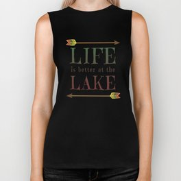 Life Is Better At The Lake - Summer Camp Camping Holiday Vacation Gift Biker Tank