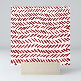 Watercolor knitting pattern - red Mini Art Print