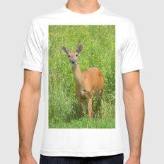Deer on Edge of Field MEDIUM Mens Fitted Tee White