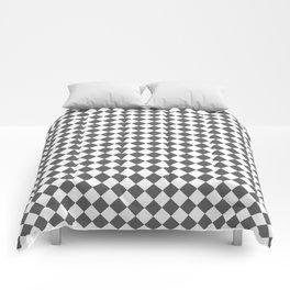 Small Diamonds - White and Dark Gray Comforters