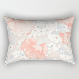Coral And Grey Petunias Rectangular Pillow