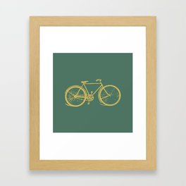 Gold Bicycle on Turquoise Framed Art Print