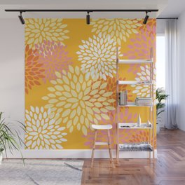 Bright Summer Floral Pattern, Colorful, Yellow, Orange, Pink Wall Mural