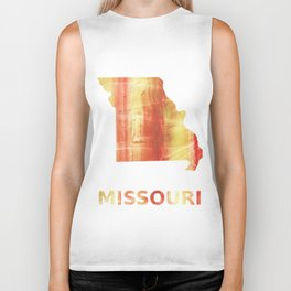 Missouri map outline Red Yellow colorful watercolor texture Biker Tank