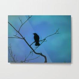 Redwinged Blackbird Silhouette in Blue Metal Print
