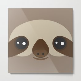 funny and cute smiling Three-toed sloth on brown background Metal Print