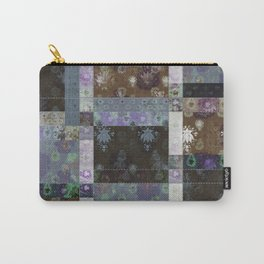 Lotus flower coffee brown and lavender blue stitched patchwork - woodblock print style pattern Carry-All Pouch