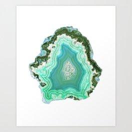 Agate Slice - Teal Art Print