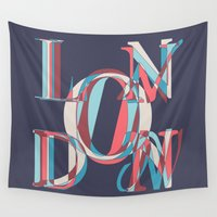london Wall Tapestries featuring London by Fimbis