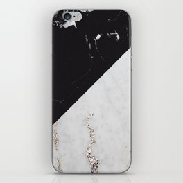 Black Marble Meets White Glitter Marble #1 #decor #art #society6 iPhone Skin