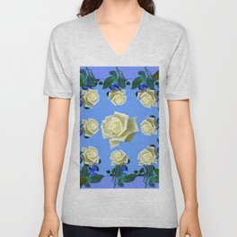 WHITE ROSES BLUE GREEN GARDEN DESIGN PATTERN Unisex V-Neck