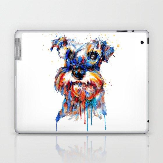 Schnauzer Head Watercolor Portrait Laptop & iPad Skin