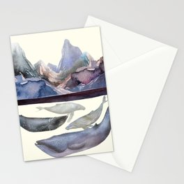 Whales Swiming under the Moutains Stationery Cards