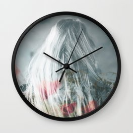 Old postcard poppy Wall Clock