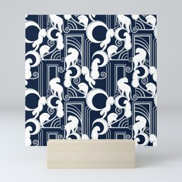 Deco Gatsby Panthers // navy and silver Mini Art Print