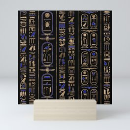 Egyptian hieroglyphs pattern Gold Lapis Lazuli #2 Mini Art Print