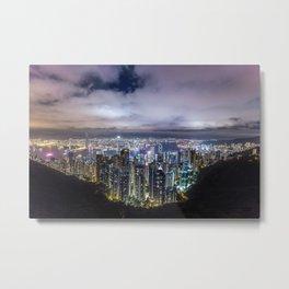 Beautiful Hong Kong city dark night view Metal Print