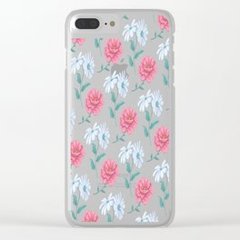 DAISY AND ROSE SEAMLESS PATTERN WHITE Clear iPhone Case