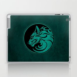 Teal Blue Growling Wolf Disc Laptop & iPad Skin