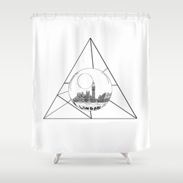Graphic . geometric shape gray London in a bottle Shower Curtain